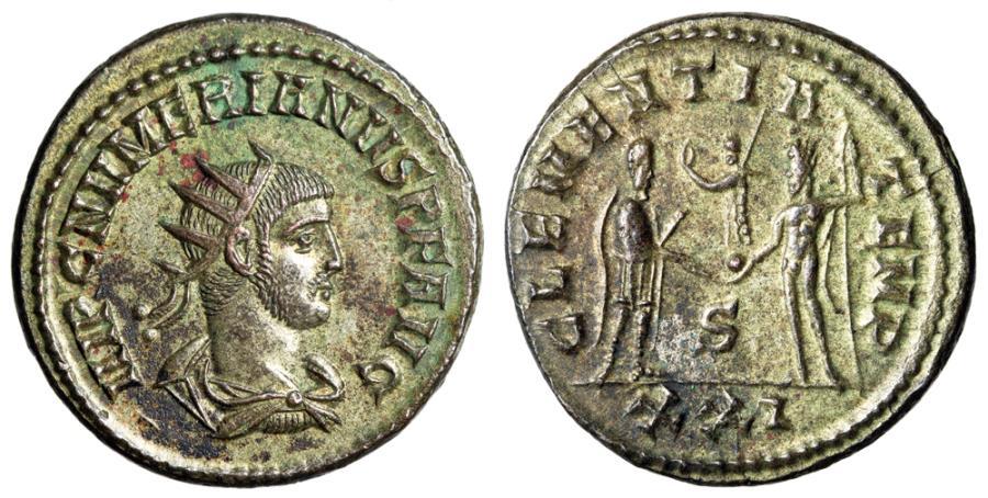 "Ancient Coins - Numerian Silvered Antoninianus ""VIRTVS AVGG Two Emperors"" Antioch RIC 466 EF"