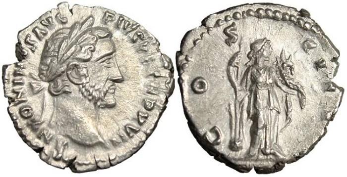 """Ancient Coins - Antoninus Pius, AR Denarius """"Fortuna"""" Rome 153-154 AD RIC 232 EF"""