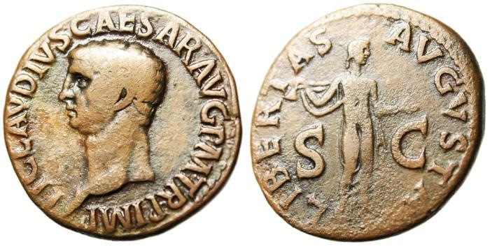 "Ancient Coins - Claudius I AE As ""Libertas, Pileus"" RIC 97 Rome 41-54 AD"