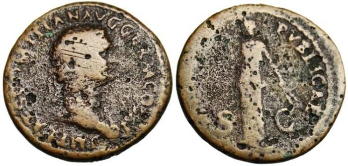 """Ancient Coins - Domitian, AE Dupondius 'FIDEI PVBLICAE Fides"""" Rome RIC 263"""
