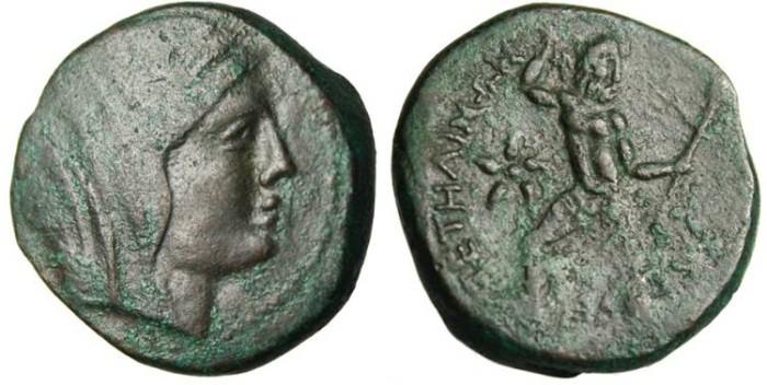 """Ancient Coins - Bruttium, Petelia AE22 """"Veiled Demeter & Zeus With Thunderbolt"""""""