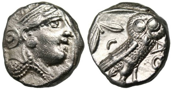 "Ancient Coins - Attica, Athens AR Old Style Tetradrachm ""Athena & Owl"" VF / EF No Cuts"