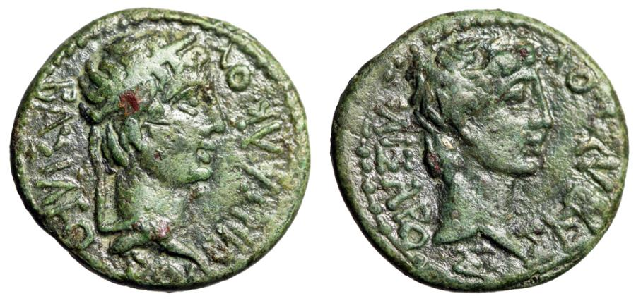 "Ancient Coins - Augustus & Rhoemetalces I King of Thrace AE19 ""Portraits"" VF Green Patina"