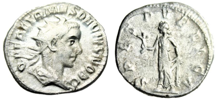 """Ancient Coins - Herennius Etruscus as Caesar Silver Ant. """"SPES PVBLICA Spes"""" RIC 149 aVF"""