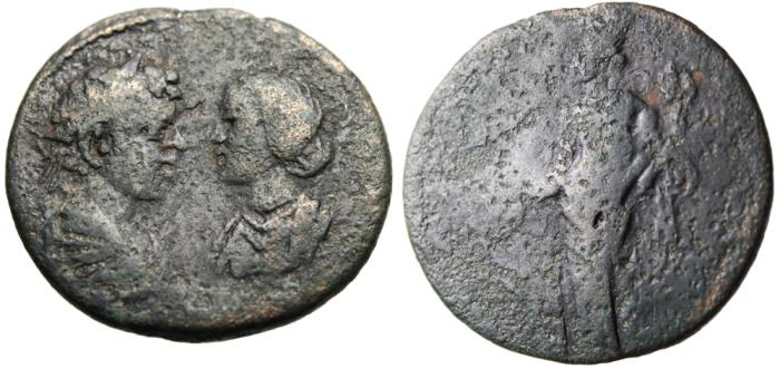 "Ancient Coins - Caracalla & Plautilla AE31 ""Busts Facing & Homonia"" Caria Stratonikeia Very Rare"
