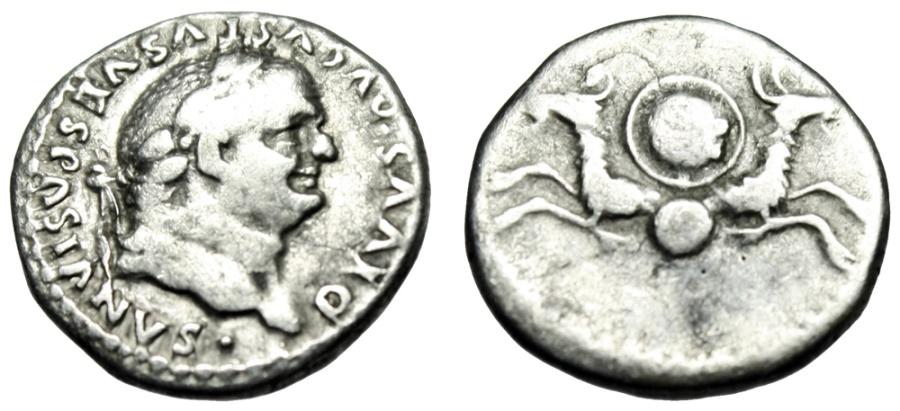"""Ancient Coins - Divus Vespasian Silver Denarius """"Capricorns, SC Shield"""" Rome Under Titus RIC 357"""