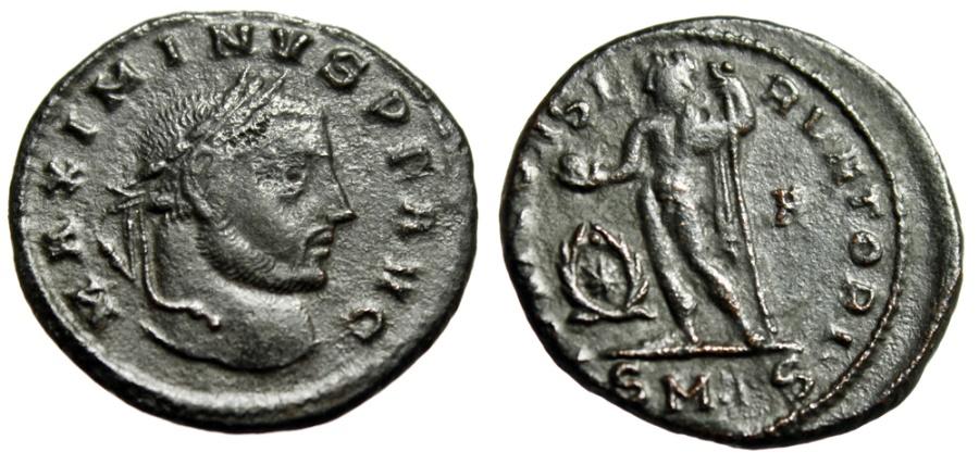 "Ancient Coins - Maximinus II AE Follis ""IOVI CONSERVATORI Jupiter, Wreath"" Thessalonica RIC 50a variant"