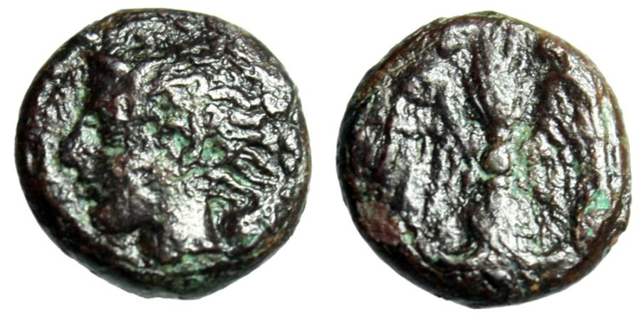 "Ancient Coins - Sicily, Katane AE Tetras ""Young Amenanos Left & Winged Thunderbolt"""