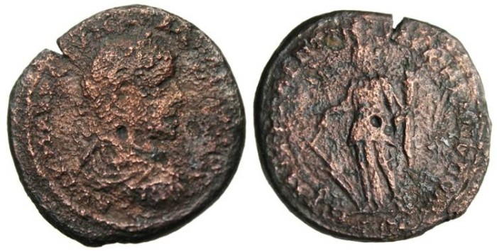 """Ancient Coins - Caracalla AE25 """"Tyche With Rubber & Cornucopiae"""" Moesia, Marcianopolis"""