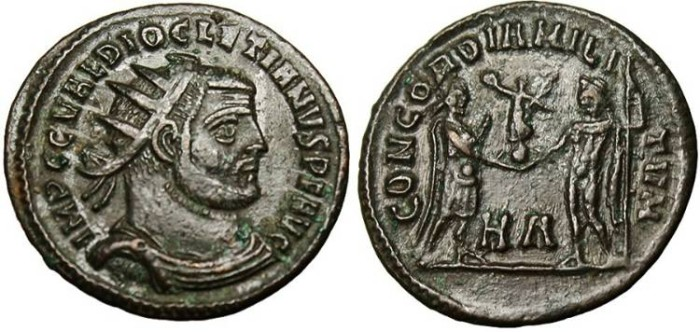 """Ancient Coins - Diocletian, AE Radiate """"Globe from Jupiter"""" Heraclea RIC 13 gVF"""
