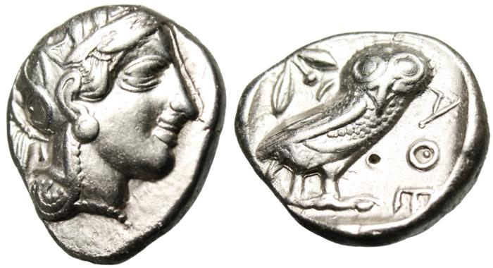 "Ancient Coins - Attica, Athens Silver Tetradrachm ""Athena & Owl"" Old Style No Cuts Greek Coin VF"