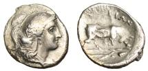 """Ancient Coins - Lucania Thurium (Thorioi) Silver Diobol """"Bull Butting, Thyrsos"""" Rare BMC 119"""