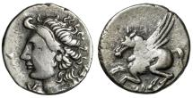 "Ancient Coins - Corinthia, Corinth AR Drachm ""Pegasus Flying & Aphrodite, Wavy Hair"" 300-243 BC"