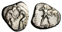 "Ancient Coins - Pamphylia, Aspendos Stater ""Wrestlers & Slinger, Triskeles"" Rare No Controls VF"