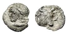 "Ancient Coins - Mysia, Kyzikos Silver Hemiobol ""Attis & Head of Bull"" Circa 410-400 BC"