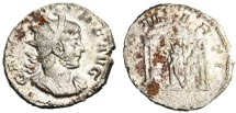 """Ancient Coins - SCARCE Gallienus AR Ant. """"DEO MARTI Mars in Temple"""" VF"""