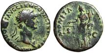 "Ancient Coins - Domitian AE As ""MONETA AVGVST Moneta, Deity of Money"" Rome 85 AD Fine"