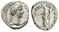 "Ancient Coins - Commodus AR Denarius ""Pax Standing"" Rome 181 AD RIC 17 VF Attractive Portrait"