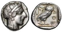 "Ancient Coins - Attica, Athens Old Style AR Tetradrachm ""Athena & Owl Facing"" Choice Near EF"