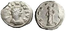 "Ancient Coins - Gallienus Silvered Antoninianus ""SALVS AVG Salus Feeding Snake"" Rome RIC 274a"