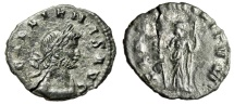 "Ancient Coins - Gallienus Billon Denarius ""Fides"" Excessively Rare Unpublished & Unique Obverse Variant"