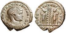 """Ancient Coins - Constantine II Caesar """"GLORIA EXERCITVS Roman Soldier"""" Trier RIC 527 nEF"""
