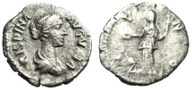 "Ancient Coins - Crispina (Wife of Commodus) AR Denarius ""IVNO Juno, Peacock"" RIC 283 nVF"