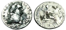 "Ancient Coins - Vespasian Fouree Denarius ""PONTIF MAXIMI [SIC] Seated"" Unusual Legend Variant"