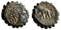 """Seleukid Kingdom: Antiochus VI Dionysos Serrated AE20 """"Elephant Walking"""" VF"""