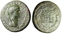 "Ancient Coins - Claudius I AE Sestertius ""EX SC OB CIVES SERVATOS in Wreath"" RIC 96 Near VF"