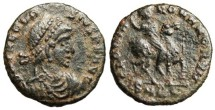 "Ancient Coins - Theodosius I AE3 ""GLORIA ROMANORVM On Horseback"" Cyzicus RIC 29a VF"
