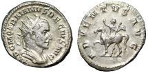 "Ancient Coins - Trajan Decius AR Antoninianus ""ADVENTVS AVG Emperor on Horseback"" RIC 11b gVF"