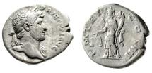 "Ancient Coins - Hadrian Silver Denarius ""Aequitas, Scales"" Rome 119-122 AD RIC 80 Good Fine"