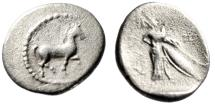 """Ancient Coins - Thessaly, Pharkadon AR Obol """"Horse Trotting & Athena With Shield""""Good Fine"""