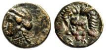 "Ionia, Samos AE12 ""Hera Left & Lion Scalp Facing"" 5th-4th Century BC VF"