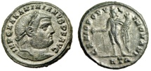 "Ancient Coins - Maximian Silvered Follis ""GENIO POPVLI ROMANI Genius"" Heraclea Attractive VF"