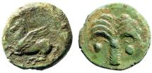 "Ancient Coins - Zeugitania, Carthage AE16 ""Palm Tree & Pegasos Flying, Punic Letter B"" About VF"