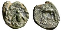 """Ionia, Ephesos (Ephesus) AE17 """"Bee in Wreath / Stag Grazing"""" 190-150 BC Fine"""