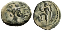 "Ancient Coins - Spain, Carteia AE23 ""Turreted Tyche & Neptune, Trident & Dolphin"" gF Desert"