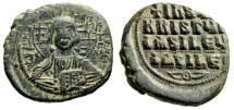 "Ancient Coins - Anonymous Byzantine Christ Follis ""Jesus Facing & King of Kings Legends"" Good VF"