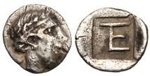 """Ancient Coins - Ionia Kolopon AR Tetartemorion """"Apollo & TE Monogram"""" Scarce VF"""