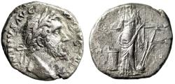 "Ancient Coins - Contemporary Imitation of Antoninus Pius AR Denarius ""Salus, Snake Altar"" VF"
