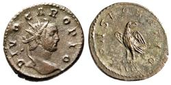 "Ancient Coins - Divo Carus AE Antoninianus ""CONSECRATIO Eagle, IIII in Exergue"" Lyons RIC 29 nEF"
