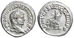 """Ancient Coins - Caracalla AR Denarius """"Pluto Seated, Cerberus at Feet"""" Rome 215 AD RIC 261a"""