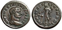 "Ancient Coins - Maximian AE Follis ""Genius of the Romans"" Ticinum Mint 296-297 AD RIC 31b gVF"
