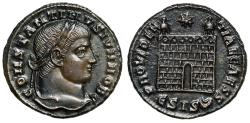 "Ancient Coins - Constantine II ""PROVIDENTIAE CAESS Campgate, Double Crescent"" Siscia RIC 216 EF"