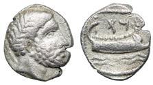 """Ancient Coins - Phoenicia, Arados AR Obol """"Marine Deity & Galley Sailing On Waves"""" gVF"""
