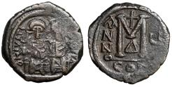 "Ancient Coins - Justin II AE Follis ""Seated with Empress Sophia"" Constantinople RY 5"