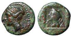 """Ancient Coins - Crete, Latus (Latos) AE11 """"Artemis Left & Hermes, Petasos"""" aVF Rare"""