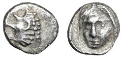 "Ancient Coins - Satraps of Caria, Hekatomnos AR Tetartemorion ""Roaring Lion & Apollo"" Scarce gVF"